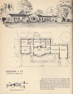 Vintage house plans, mid century homes, split level homes Vintage House Plans, Modern House Plans, House Floor Plans, Vintage Homes, The Plan, How To Plan, Gambrel Roof, Casas Containers, Southern Heritage
