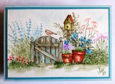 Art Impressions Wonderful Watercolor: Handmade card wtih wood fence, bird, birdhouse, flowers, pot, grass, flowers, foliage