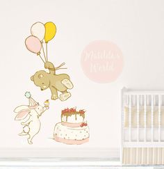 Customized Nursery Fabric Wall Decal Name Removable Decals Bunny Bear