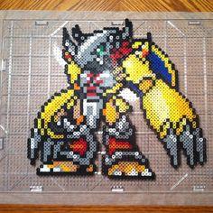 WarGreymon Digimon perler beads by theblackxranger