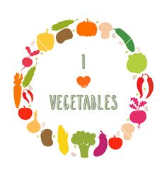 I love vegetables frame healthy food icons vector by saenal78 on VectorStock®
