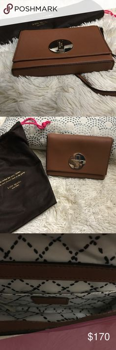"""Offers??🌸 Kate Spade all leather crossbody. Authentic and in excellent shape. Has pocket inside and comes with Kate Spade dust bag with cute quote. Twist lock opening with gold hardware. Strap can easily tuck inside so you can use it as a clutch too! Dimensions 7.5""""x5"""" 🌸 Who doesn't love Kate Spade? And not many brown ones, especially this size. Don't be shy to offer before it's gone! 😊 kate spade Bags Crossbody Bags"""