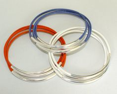 Made in USA  CUSTOM Leather Bangle  SILVER Tube  by WrappedinYou, $2.49