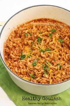 This Healthy Goulash will be a family favorite, it's so easy to make and delicious! Lauren Kelly Nutrition #glutenfree