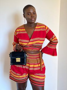Totalement, Fashion Brand, Fashion Design, African Print Fashion, Two Piece Outfit, Orange, Yellow, High Waisted Shorts, Ankara