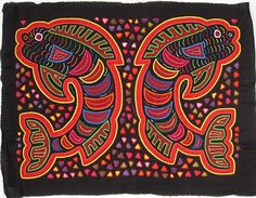 Pair of jumping fish Mola made by Kuna (Cuna) Indian people of Panama's San Blas Islands.