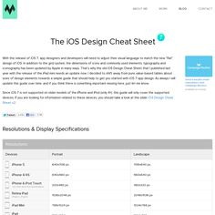 The iOS Design Cheat Sheet 7 In addition to the grid system, the dimensions of icons and commonly used elements, typography and iconography has been updated by Apple in many ways.