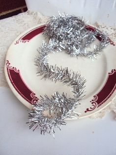 Vintage Christmas Feather Tree Tinsel Garland in Antique Silver