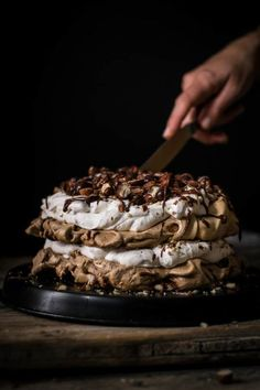 Chocolate Hazelnut Pavolva Cake Beautiful layers of crispy and chewy meringue, decadent chocolate ganache and fluffy hazelnut whipped cream are what make this delicious chocolate hazelnut pavlova cake Decadent Chocolate, Delicious Chocolate, Chocolate Ganache, Mini Chocolate Pavlova Recipe, Chocolate Cream, Melting Chocolate, Baking Recipes, Cake Recipes, Dessert Recipes