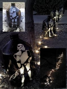 Army of Star Wars Stormtroopers Lanterns made from milk jugs & spray paint… Halloween This Year, Halloween Party Themes, Family Halloween, Halloween Crafts, Where The Sidewalk Ends, How To Make Lanterns, Trunk Or Treat, Family Crafts, Star Wars Party