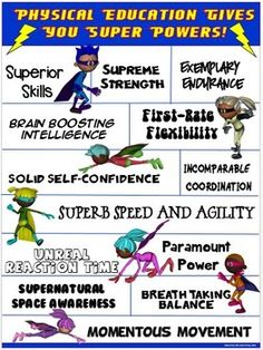 """THE POWER OF PE! This colorful """"Physical Education Gives You Super Powers"""" poster highlights 13 """"Super Results"""" that stem from quality physical education. The statements are POSITIVE and POWERFUL!"""