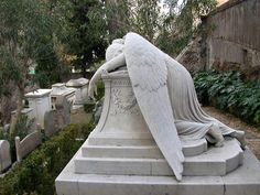 This beautiful grieving angel, draped over the grave of Emelyn Story, was the last work of her husband, the American sculptor, William W. Story, created in 1895 in her memory in the same year of her death.