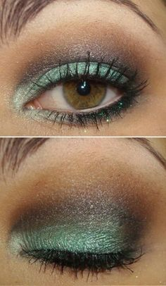 glittery #green smokey eye #makeup  @pausaparafeminices (for day wear I'd skip the glitter on the lower lashes)