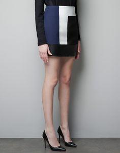 Color Block Leather Mini Skirt - Lyst