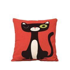 YOUR SMILE Squint Cat Cotton Linen Square Decorative Throw Pillow Case Cushion Cover 18x18 Inch(44CM44CM) (Color#14)