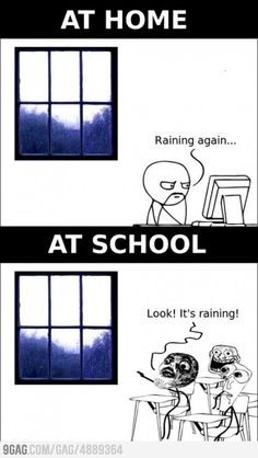 Are you kidding?! I'm like the school kid every time it rains!