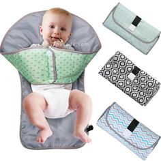 Our Little Clean Bums™ Baby Changing Pad & Mat provides all the benefits of a standard portable changing station and diaper clutch plus a useful barrier to hang toys from and gently redirect your child's curiosity away from the mess. Baby Changing Mat, Diaper Changing Station, Diaper Changing Pad, Baby Hammock, Diaper Clutch, Free Diapers, Baby Supplies, Baby Pillows, Baby Blankets