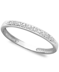 14k White, Yellow, or Rose Gold Ring, Pave Diamond Accent Band   macys.com