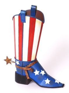 """How perfect are these stars and stripes cowboy boot!  Looks great """"as is"""" or use it a a vase with petunias cascading out."""