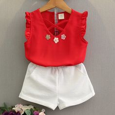 four- Toddler Girl Summer Clothes Baby Kids Girl Outfit Chiffon Vest T-Shirt+Shorts Pants Set Ropa Girls Summer Outfits, Short Outfits, Summer Girls, Kids Outfits, Summer Baby, Summer Clothes, Short Pants Girl, Pantalon Costume, T Shirt And Shorts