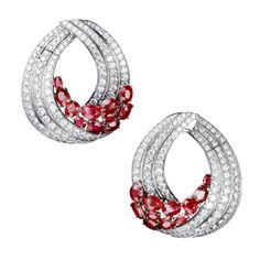 """Haute Joaillerie – Adler Joailliers Earrings """"Trencadis"""" in 18kt white gold set with 22 rubies 16.72 cts and diamonds 12.07 cts"""