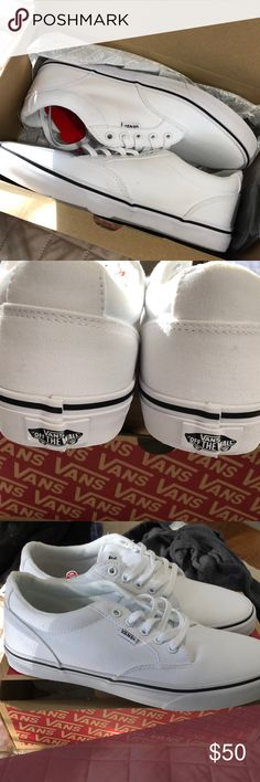 526c921db7 VANS Winston shoes white white New in box with extra set of black laces .