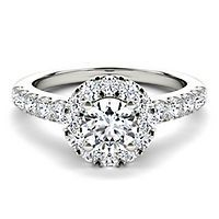 Helzberg Diamond Masterpiece® 1 ct. tw. Diamond Halo Engagement Ring in 18K White Gold