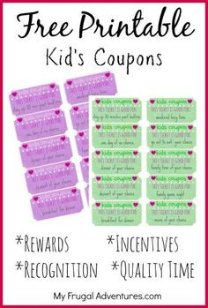 Children's Gift Idea: Free Printable Reward Tickets Free Printable Kids Coupons- perfect way to recognize and reward good behavior! Just print out the coupons and fill in your reward-- this is not only a great way to recognize good behavior but also to fi Chore Rewards, Kids Rewards, Rewards Chart, Kids Reward System, Behavior Coupons, Reward Ideas, Chore Ideas, Reward Chart Kids, Reward Coupons