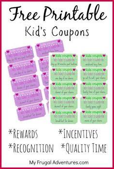 Chore Rewards, Kids Rewards, Rewards Chart, Reward Coupons, Behavior Coupons, Reward System For Kids, Chore List, Chores For Kids, Activities For Kids
