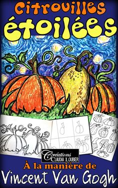 Here is an art project that highlights the arrival of autumn while also discovering Vincent Van Gogh Art Halloween, Halloween Art Projects, Fall Art Projects, Halloween Painting, School Art Projects, Vincent Van Gogh, Art Plastique Halloween, Art 2nd Grade, Arte Elemental