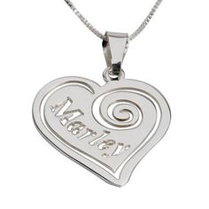 Personalized Sterling Silver Heart Pendant with Name