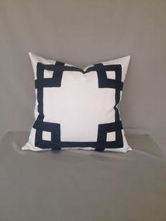 ribbon embellishment white and black pillow cover