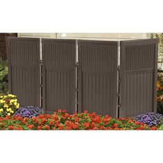 4 Panel Resin Wicker Outdoor Screen Pool Divider Privacy Yard Patio Garden Decor #Suncast