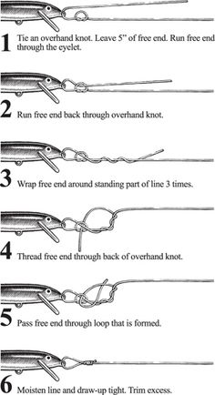 Sufix recommended fishing line knots. Learn to tie a variety of knots like the Rapala Knot, the Improved Clinch Knot, the Palomar Knot and the Double Uni Knot. Helpful, detailed illustrations make it easy to learn how to tie these knots. Fishing Rigs, Fishing Guide, Trout Fishing, Bass Fishing, Fishing Boats, Fishing Tackle, Fishing Stuff, Salmon Fishing, Fishing Rod Rack