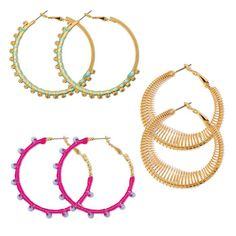 By Avon Show Stopping Earring Set. Three pairs of goldtone earrings: hoops wrapped in pink thread with pale blue stones, hoops wrapped in mint thread with goldtone glass stones and openwork hoops made with spiral springs. Mark Makeup, Avon Rings, Avon Mark, Shops, Plastic Beads, Bead Earrings, Jewelry Sets, Jewelry Trends, Beautiful Earrings