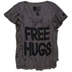 "free hugs rebel yell grey shirt sold out everywhere!!  The Rebel Yell Free Hugs Rocker Tee is a fun and cute shirt. Made from soft distressed cotton, it has a relaxed fit, short sleeves and scoop neck. Its catchy ""Free Hugs"" screen print gives this playful tee its finishing touch. Item is true to designer letter sizing, slightly relaxed throughout. rebel yell Tops"