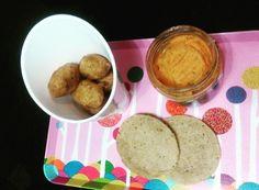 Buñuelos de bacalao, paté de zanahoria y pan hindú
