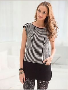 A stylish, modern, striped tunic with a hidden front pocket!