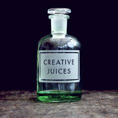 This fabulous glass apothecary bottle is etched with the phrase Creative Juices and comes with a glass stopper. Designed and etched by the talented Vinegar & Brown Paper.