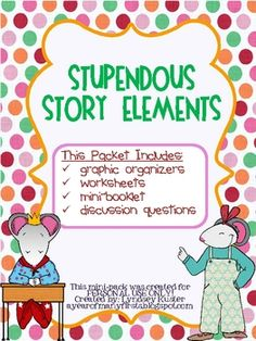 Grab this 30 page FREE packet to use when teaching story elements (character, setting, problem and solution) in your classroom. Most of the packet can be used for any text,  but some of it was created especially for stories by Kevin Henkes.
