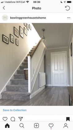 hallway decorating 656470083166244376 - 55 Trendy Home Decored Farmhouse Staircases Source by Grey Hallway, Hallway Ideas Entrance Narrow, House Entrance, Modern Hallway, Grey Carpet Hallway, Stairs With Grey Carpet, Grey Carpet Living Room, Gray Carpet, Stairs And Hallway Ideas