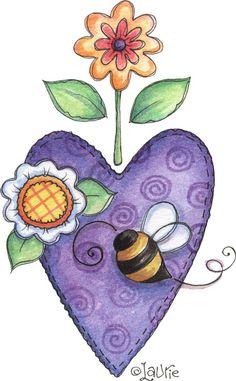 heart and bee Pintura Country, Arte Country, Country Crafts, Cute Clipart, Country Paintings, Tole Painting, Doodle Art, Painting Inspiration, All Art
