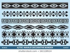 Image vectorielle de stock de Navajo Aztec Border Vector Illustration Page 259728050 Pattern Drawing, Pattern Art, Pattern Design, Native American Patterns, Native American Design, Art Indien, Indian Symbols, Vector Border, Decorative Borders