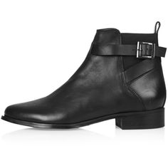 TOPSHOP BLANCHE Ankle Boots (77 AUD) ❤ liked on Polyvore featuring shoes, boots, ankle booties, shoes - boots, botas, black, short black boots, short leather boots, black boots and leather booties