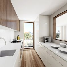 Narrow Kitchen with a Large window opening