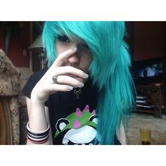 Teal choppy blue hair with side swept bangs in a side ponytail #scene