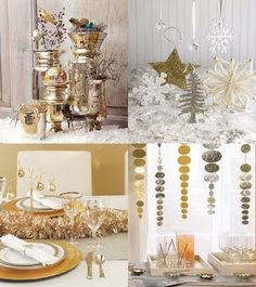 The picture in the bottom right hand corner is an example of decorations I will be making with ornaments to hang behind the buffet table