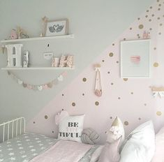 Add a touch of fun to your walls with Gold Dot decals! has one - Baby girl room - Kinderzimmer Baby Bedroom, Baby Room Decor, Girls Bedroom, Ikea Girls Room, Bedroom Furniture, Bedroom Decor, Bedroom Ideas, Cool Teen Bedrooms, Girl Bedroom Designs