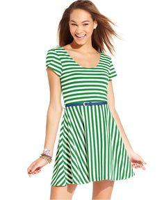 Planet Gold Juniors Dress, Short Sleeve Striped Skater - Juniors Dresses - Macy's