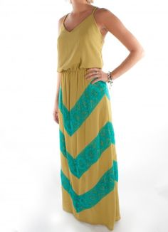 Judith March maxi dress in gold with turquoise lace